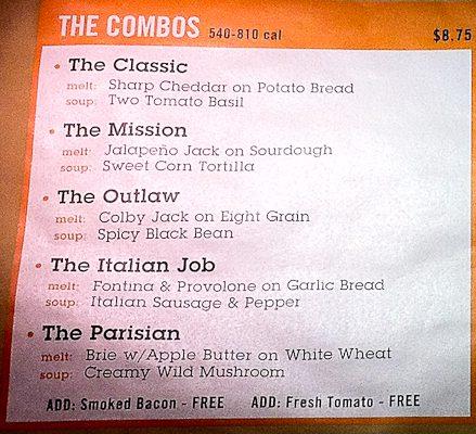 The Melt menu board, Stanford Shopping Center, Palo Alto, CA