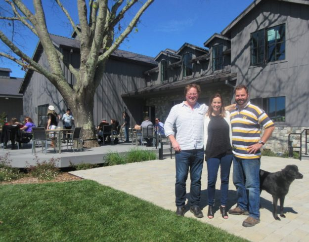 Goosecross Cellars - Christi Coors Ficeli- with GM-winemaker-winery dog - Photo Credit: Deborah Grossman