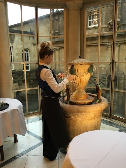 Bath Spa Water at the fountain in the Pump Room at the Roman Baths, Bath, UK - photo © Love to Eat and Travel