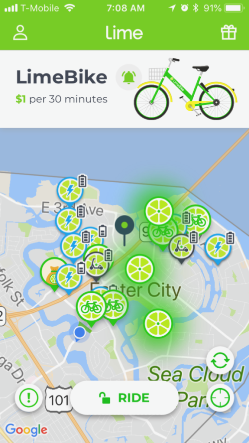 Locate Limebikes or eScooters using app and GPS - photo © LoveToEatAndTravel.com