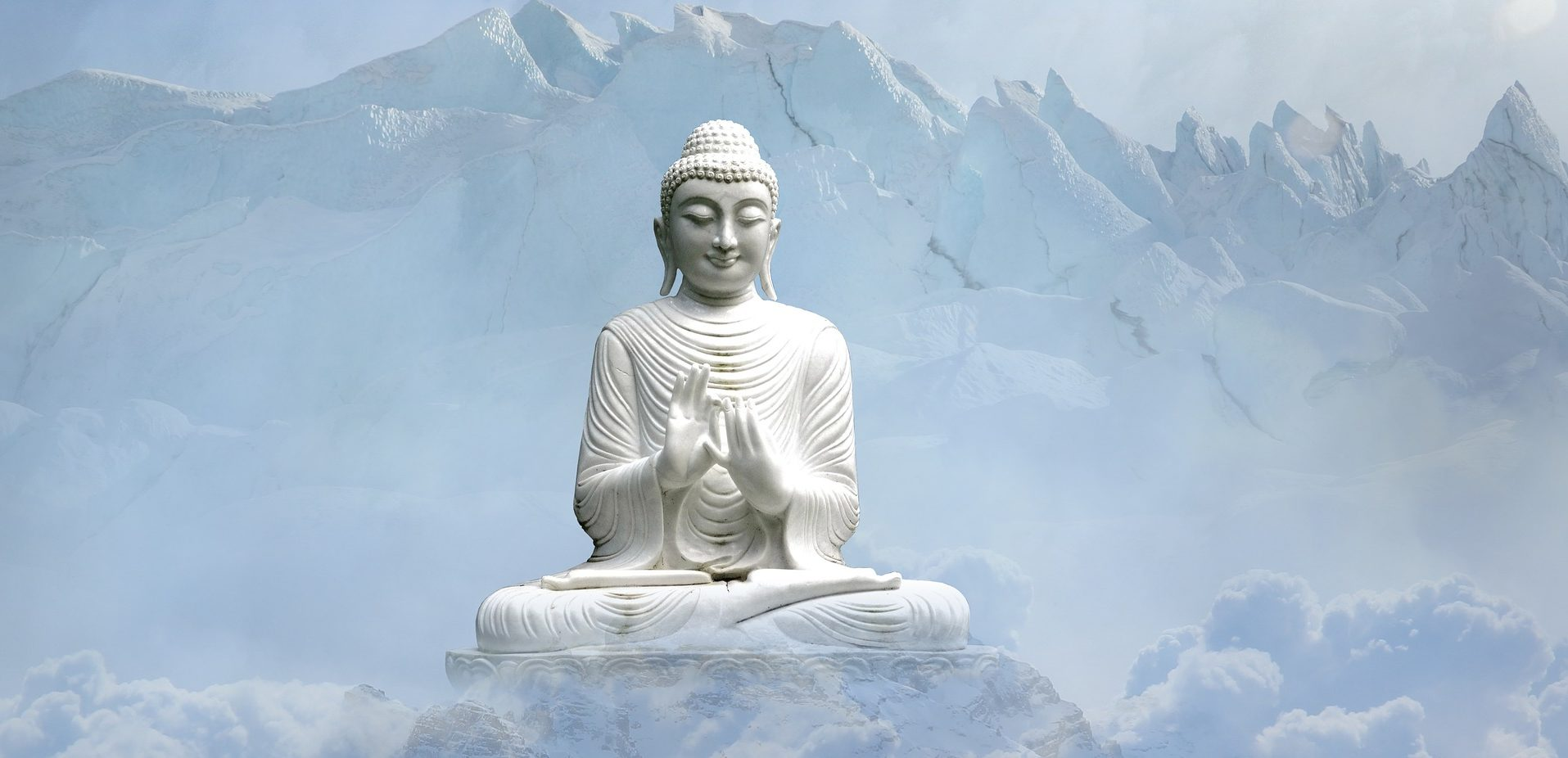 Buddha Meditation in clouds and mountains