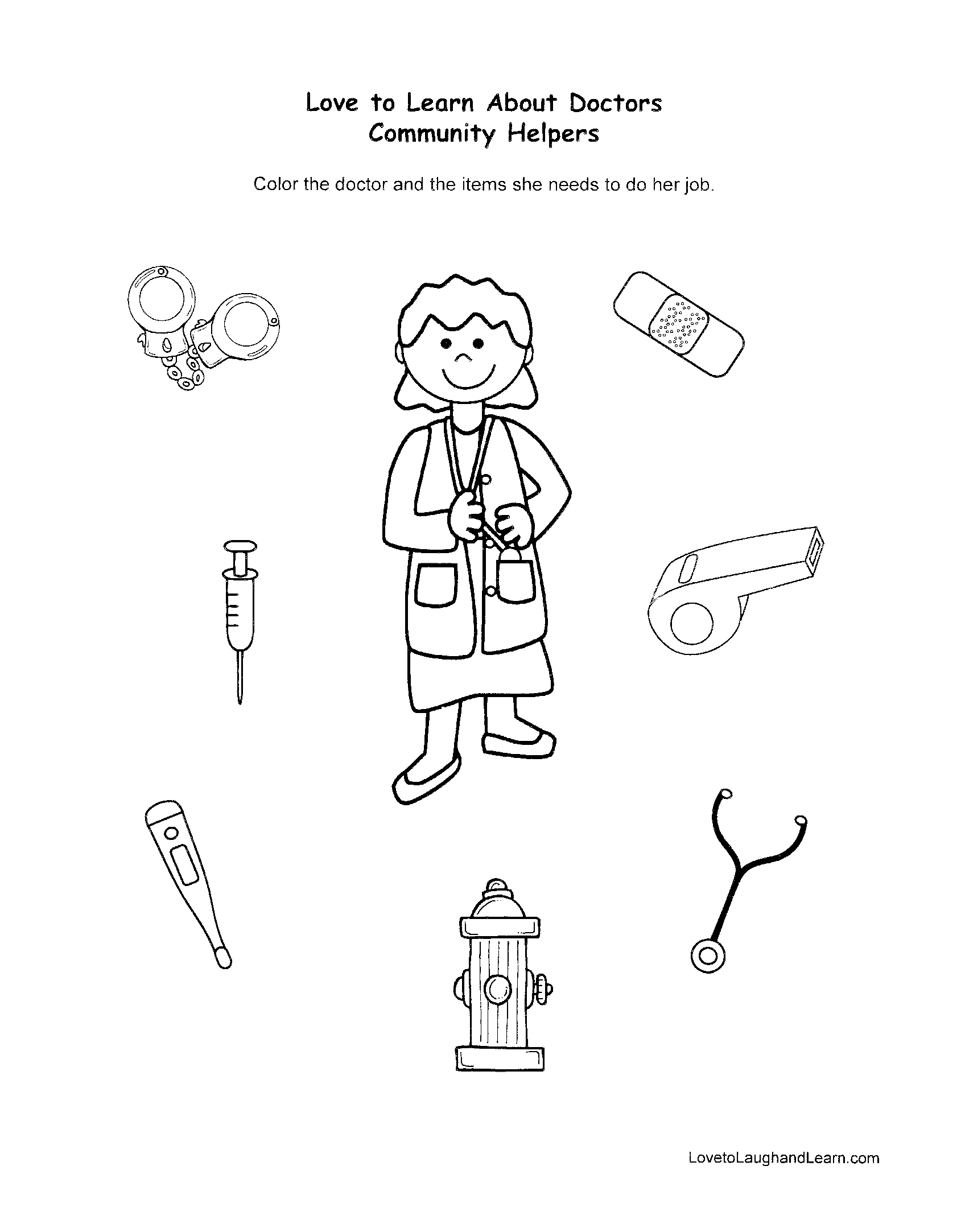 Community Helpers Doctor Fun Sheet