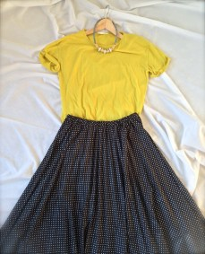 Spring option. Yellow with polka dot skirt