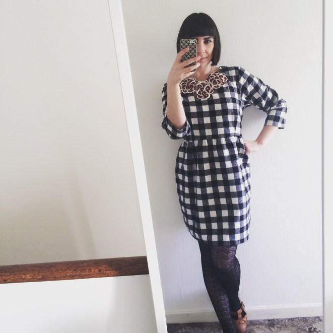 Gingham monochrome dress
