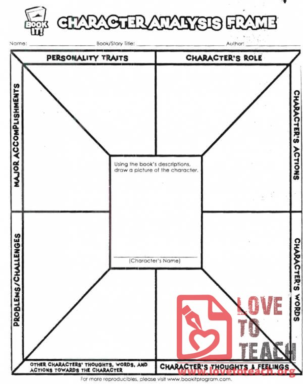 Character Analysis Worksheet  Lovetoteachorg