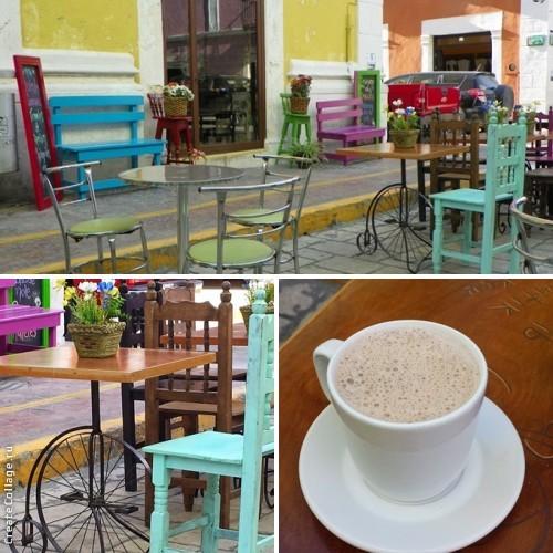 Чашка горячего шоколада на улице Кампече