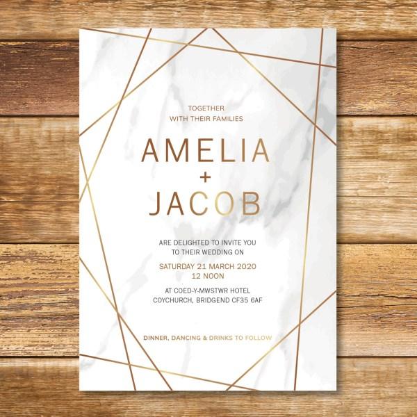 Marble rose gold wedding invitation