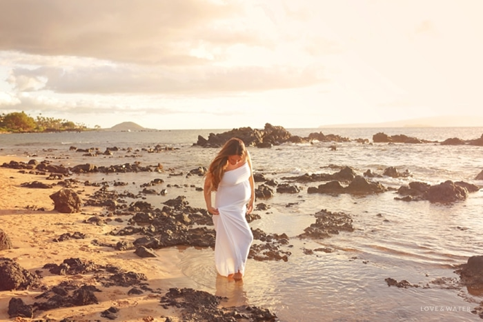 Maui Maternity Photographers sunset beach pregnancy session