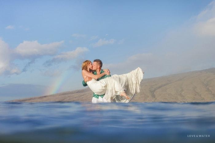 Maui trash the dress session with rainbow