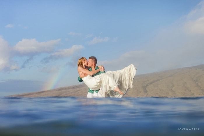 Maui trash the dress session with rainbow