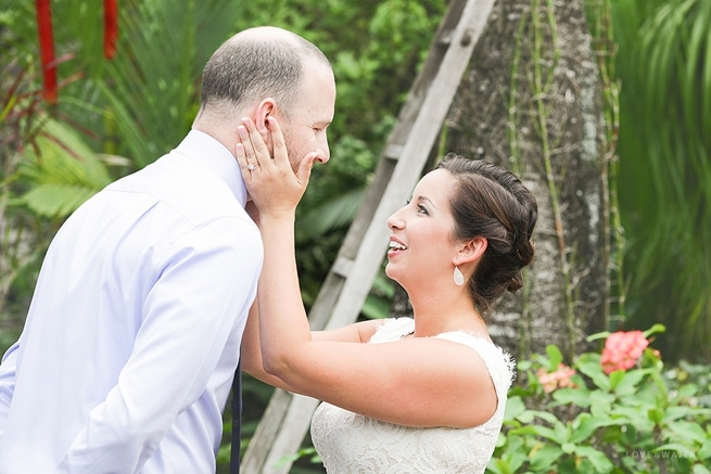 Bride wearing BHLDN wedding dress for first look at Kauai Elopement