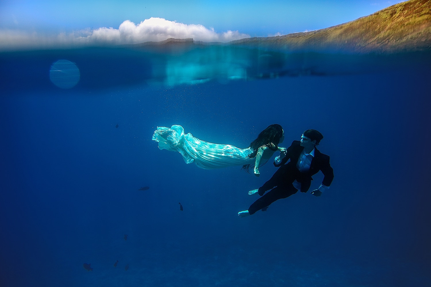 Underwater Trash the Dress Maui  Love  Water Photography