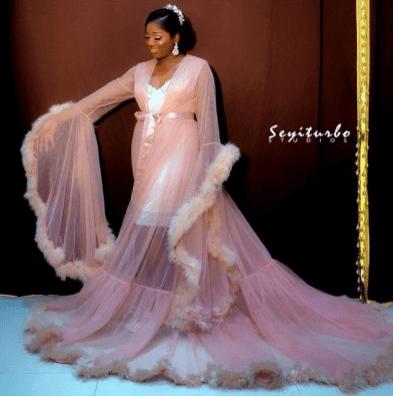 2017 Nigerian Wedding Trend Tulle Feathered Bridal Robes LoveWeddingsNG 1