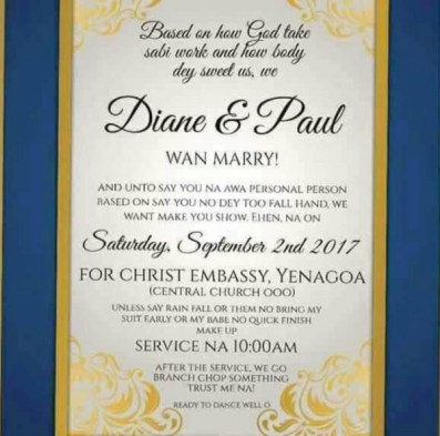 Nigerian Funny Wedding Invitation Card LoveWeddingsNG 2