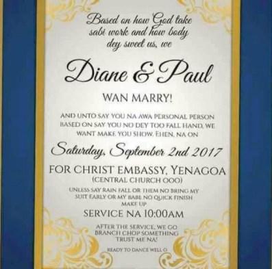 Nigerian Funny Wedding Invitation Card LoveWeddingsNG 2
