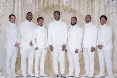 Gucci Mane and Keyshia Kaoir's Wedding #TheManeUnion Groom and Groomsmen in white LoveWeddingsNG