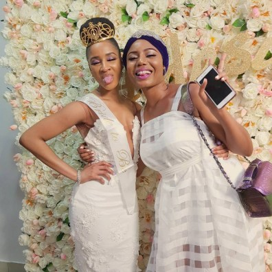 Adesua 'Susu' Etomi and Bridesmaid Nancy Isime #BAAD17 LoveWeddingsNG