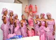 #BAAD17 Banky Wellington and Adesua Etomi's Traditional Wedding Adesua and her bridesmaids LoveWeddingsNG