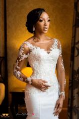 Ghanaian Wedding Bride in Illusion Sleeves Bema and Cherelle Adjei-Ampofo JOT Photography LoveWeddingsNG
