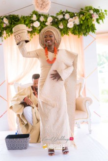 Wendy and Victor's Traditional Wedding Bride with groom's cap #WWForever HBPixels LoveWeddingsNG