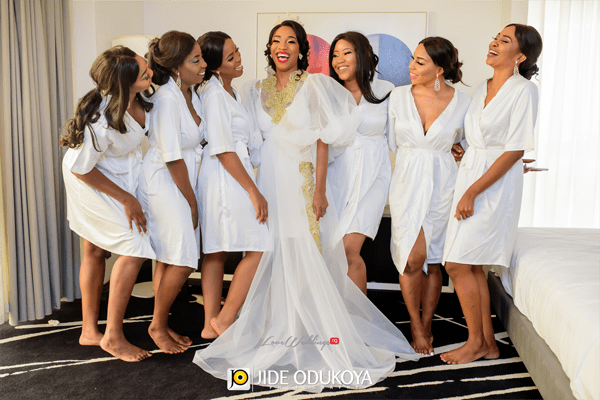 Nigerian Bride and Bridesmaids in Robes LoveWeddingsNG #ForeverAHMUYours18