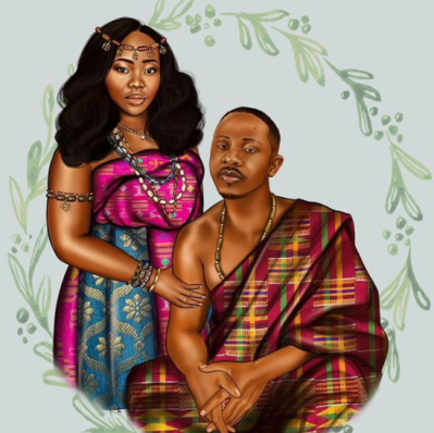 Peniel Enchil and Kojo's Traditional Wedding Save the Date Illustration LoveWeddingsNG