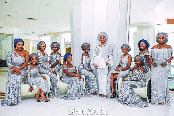 Nigerian Traditional Bride and Aso ebi ladies Oyindamola and Abisoye JGates Visuals LoveWeddingsNG