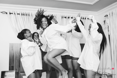 Nigerian Bride and Bridesmaids in white tee shirt Ini and Femi's Rustic Nigerian Wedding LoveWeddingsNG 3