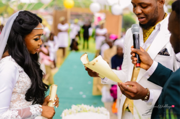 Nigerian Bride and Groom vows on burnt paper scrolls Ini and Femi's Rustic Nigerian Wedding LoveWeddingsNG