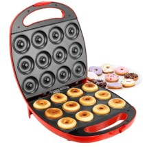 VonShef Deluxe 12 Hole Red Electric Doughnut Maker Donut Snack Machine 1400W