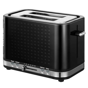 VonShef Premium 1000W 2 Slice Black Gloss Wide Slot Toaster with Slide Out Crumb Tray
