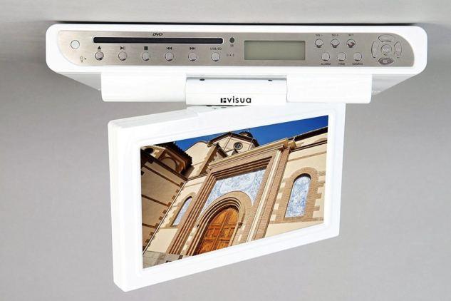 "Visua Glossy White Special Edition 10.2"" Under Cabinet Flip Down Kitchen TV"