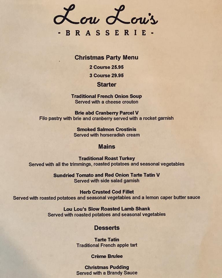 Restaurants For Christmas Party Part - 33: Well Just In Time Hereu0027s Brasserie Lou Louu0027s Christmas Party Menu A Perfect  Blend Of Traditional With A Sprinkling Of France Added To The Mix !