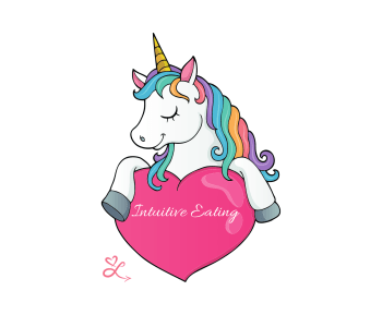 "A mythical creature holding a heart with ""intuitive eating"" written on it to represent the myths of IE."