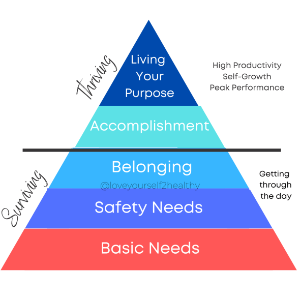 Reimagined Maslow's Hierarchy pyramid with breakdown of surviving versus thriving