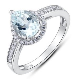Sterling Silver Pear Cut Genuine Natural Aquamarine Halo Ring