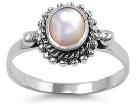 Sterling Silver Women's Simulated Mother of Pearl Ring Polished 925 Band 11mm Sizes 5-10