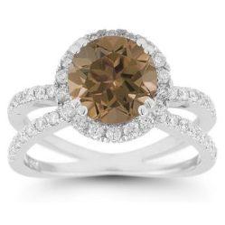 criss cross smokey quartz pave diamond