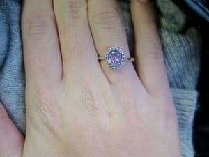 wearing amethyst wedding ring