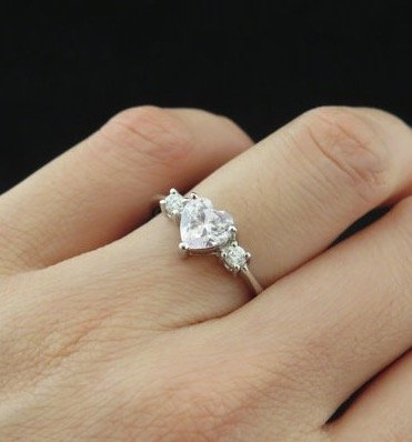 1.25 carat Heart Cut, Round 3 Stone Engagement Ring, Man Made Diamond, Promise