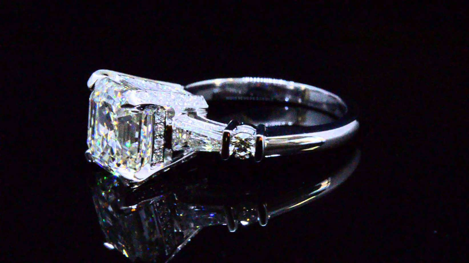 engagement diamond platinum ring asscher in gia art home cut product antique deco