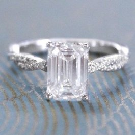 emerald cut diamond engagement wedding ring
