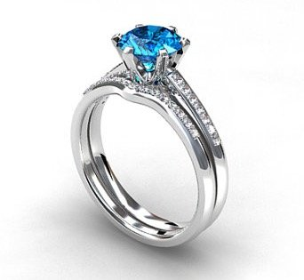 engagement ring set, Swiss blue topaz, Diamond band, wedding ring set, gold