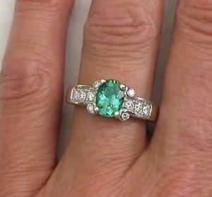seafoam green engagement ring | Seafoam Green Tourmaline Engagement Ring