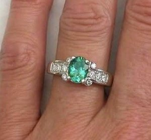 seafoam green engagement ring | Seafoam Green Tourmaline Engagement Ring