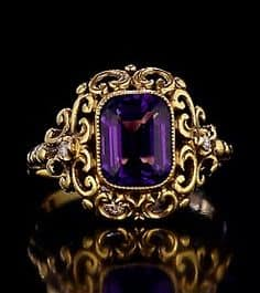antique russian renaissance style openwork gold ring with siberian amethyst