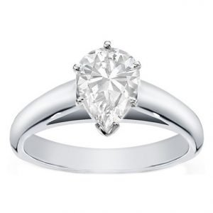 pair shaped diamond cathedral solitair engagement ring
