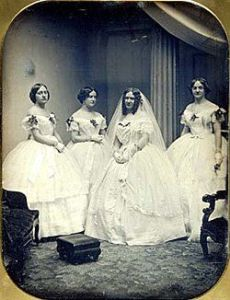 victorian era bride and bridesmaids