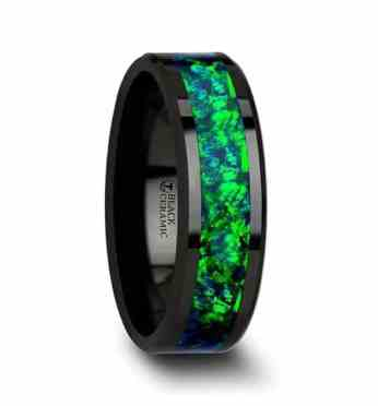 pulsar-black-ceramic-wedding-band-with-beveled-edges-and-emerald-green-sapphire-blue-color-opal-inlay-6mm-8-mm