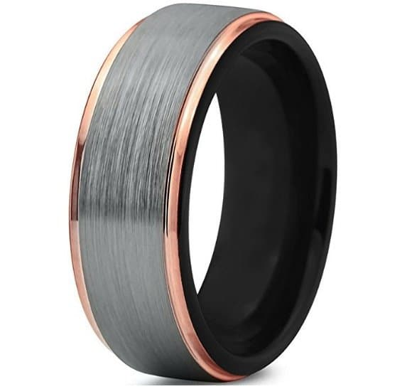 tungsten-wedding-band-ring-8mm-for-men-women-black-18k-rose-gold-stepped-edge-polished